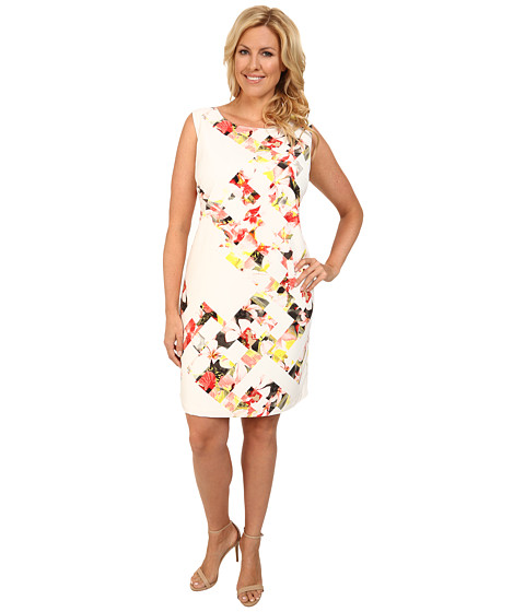 Vince Camuto Plus - Plus Size Sleeveless Broken Photo Floral Shift Dress (Taffy Pink) Women