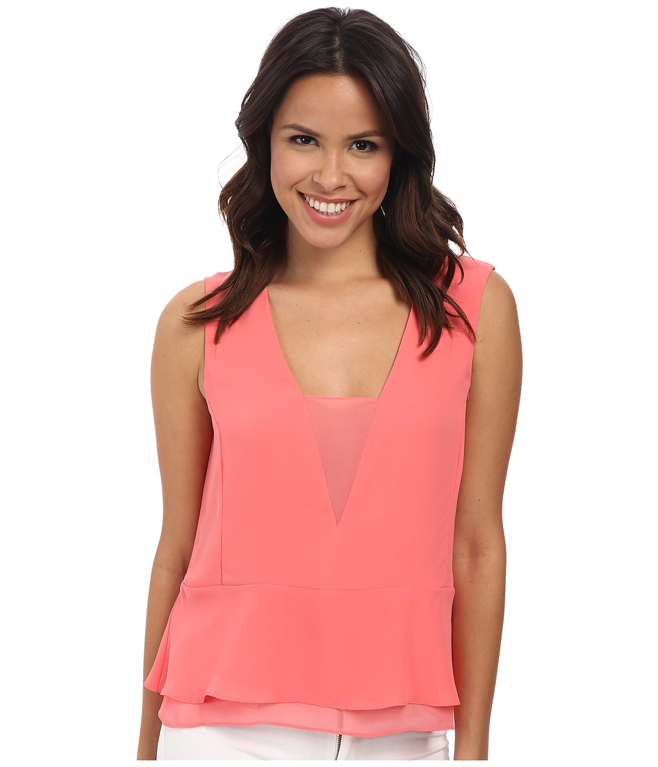 BCBGMAXAZRIA - Amerly Sleeveless V-Neck Top (Pink Coral) Women's Sleeveless