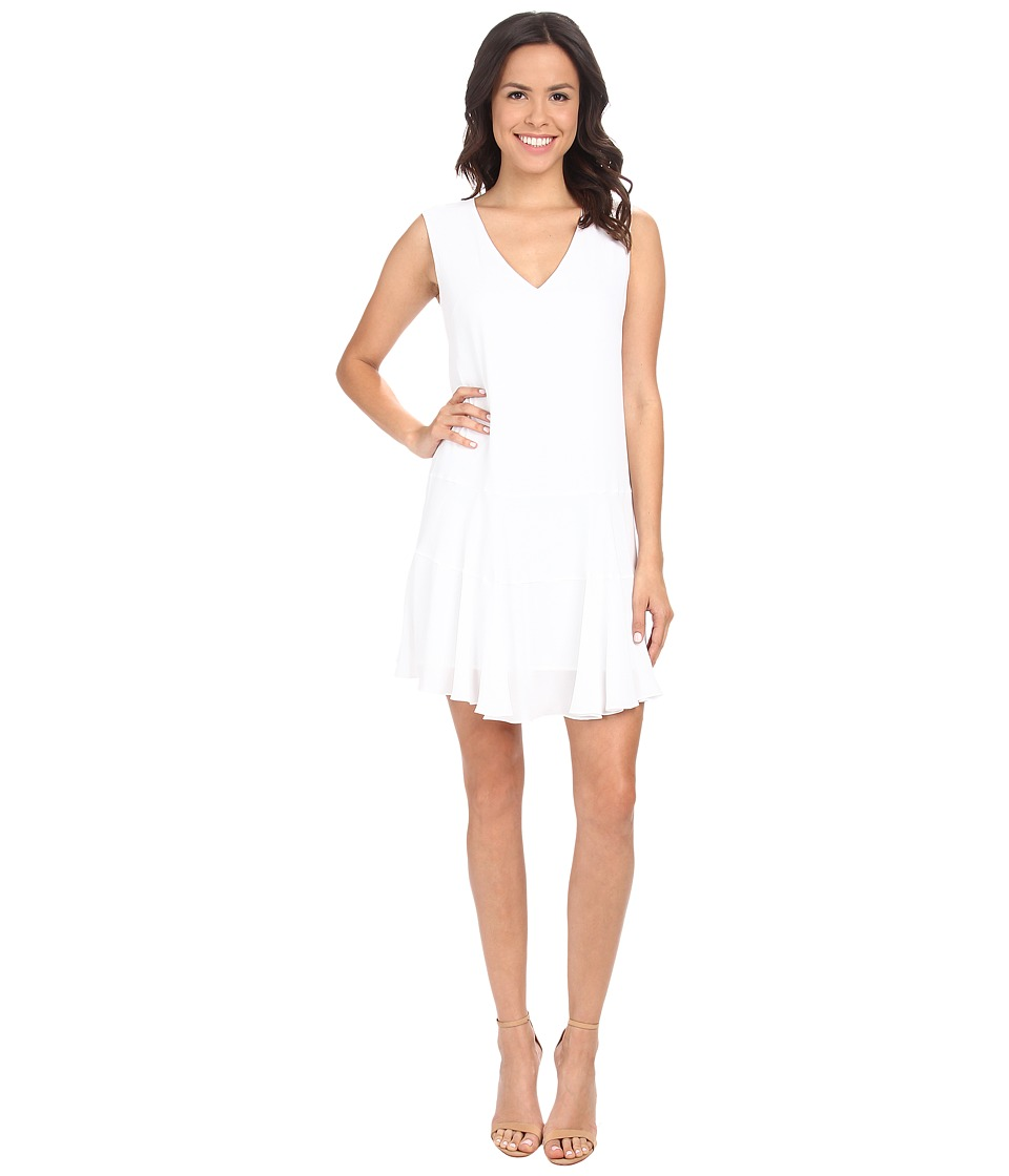 BCBGMAXAZRIA - Clea A-Line Double Flounce Tank Dress (White) Women's Dress