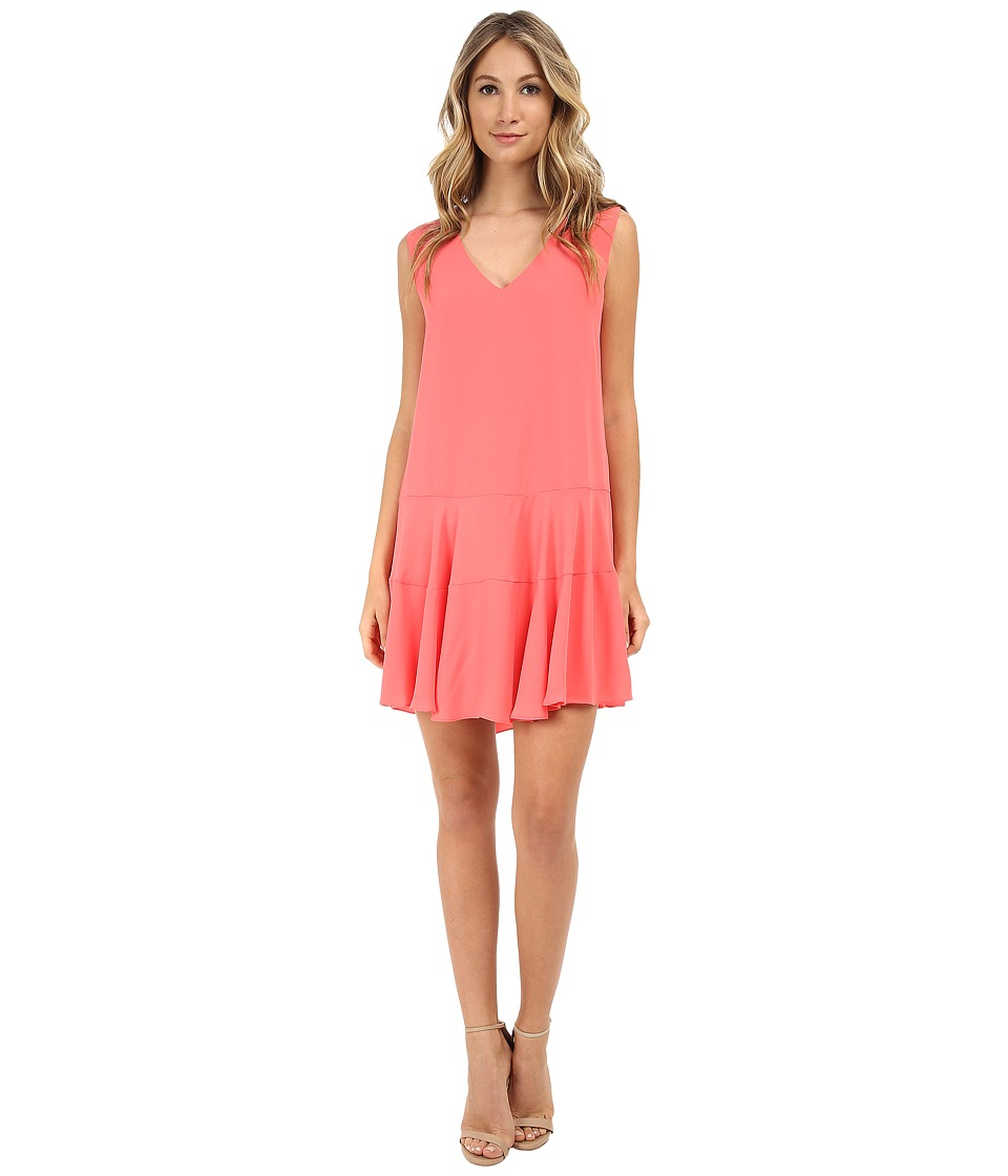 BCBGMAXAZRIA - Clea A-Line Double Flounce Tank Dress (Coral Reef) Women
