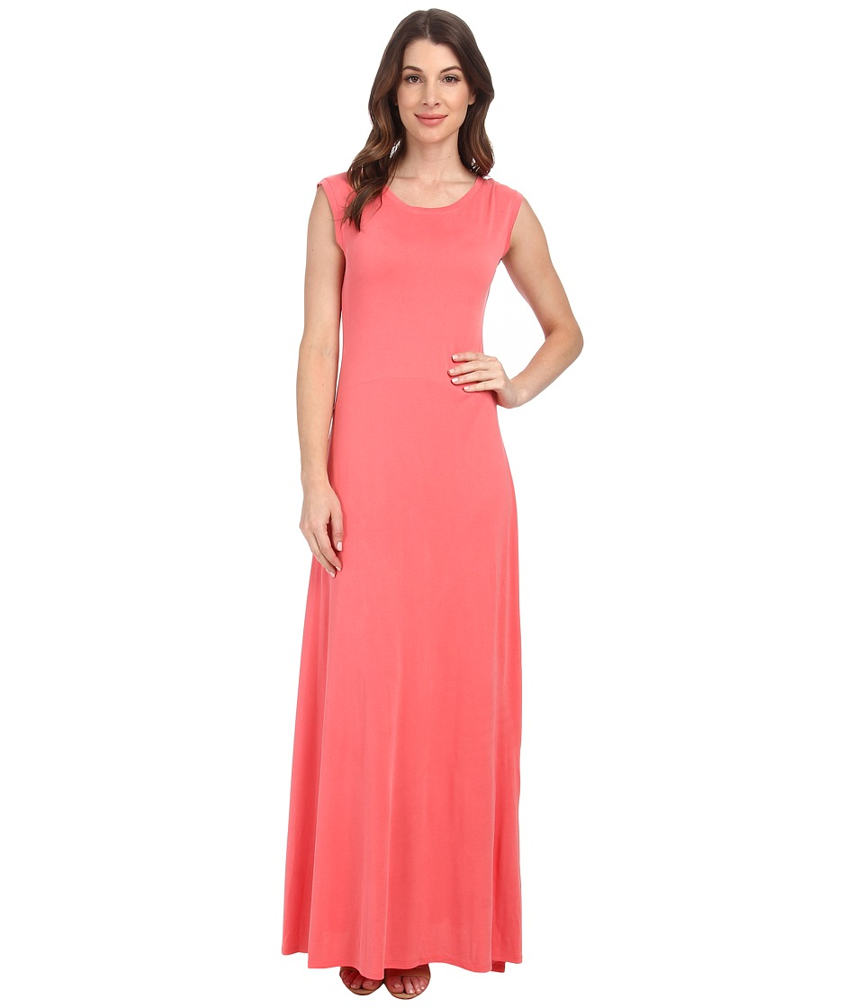 BCBGMAXAZRIA - Evey Maxi w/ Deep V Back (Vintage Coral Reef) Women's Dress