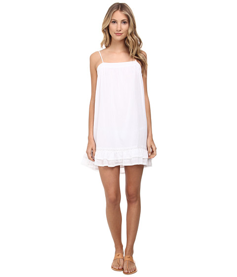 BCBGMAXAZRIA - Aisha Ruffle Hem Dress (White) Women's Dress