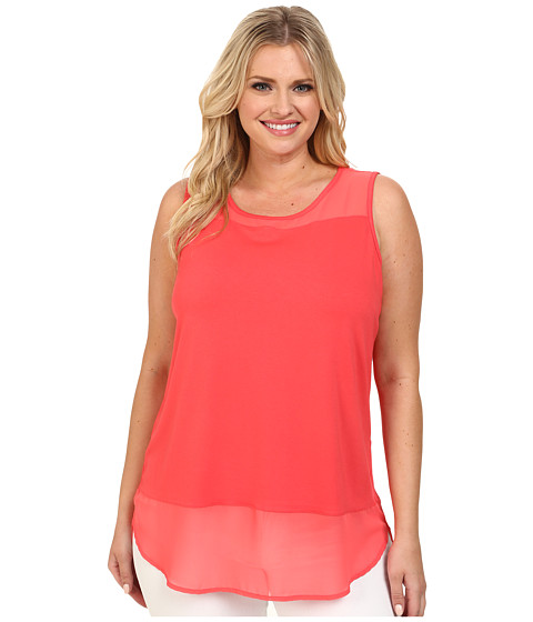 Vince Camuto Plus - Plus Size Sleeveless Mix Media Top w/ Chiffon Yoke/Hem (Pomegranates) Women