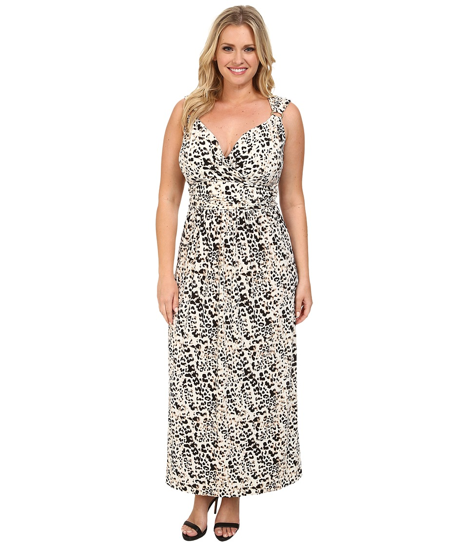 Vince Camuto Plus - Plus Size Sleeveless Leopard Maxi Dress w/ Hardware (Sesame) Women