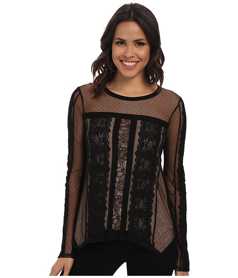 BCBGMAXAZRIA - Addyson Lace Blocked Long Sleeve Shirt (Black) Women's Blouse