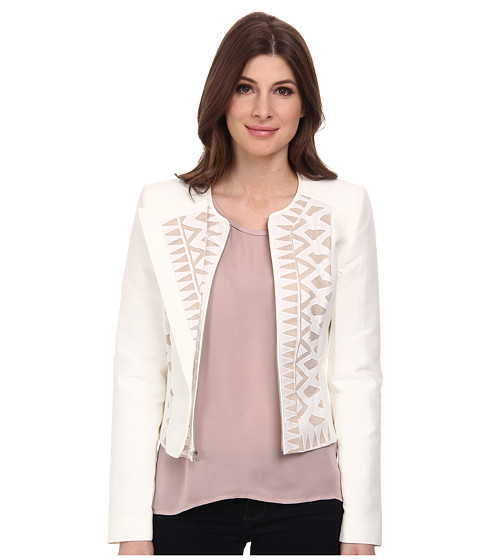 BCBGMAXAZRIA - Floyd Lace Insert Jacket (Off White) Women's Coat