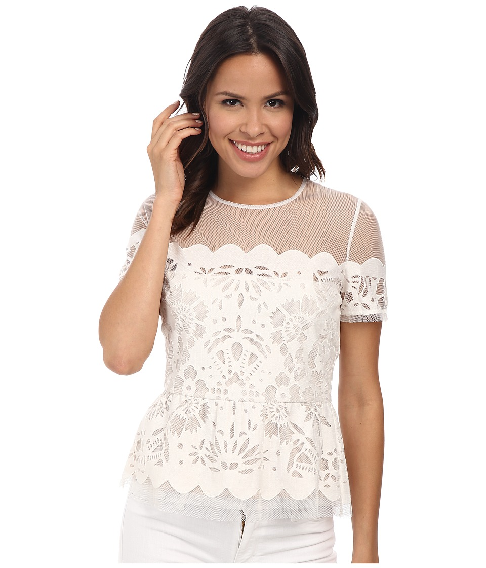 BCBGMAXAZRIA - Kasandra Scalloped Burnout Peplum Top (White) Women