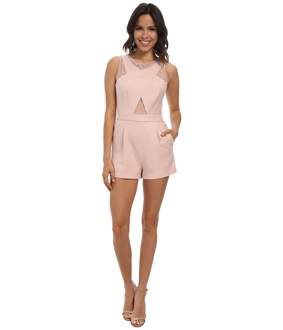 BCBGMAXAZRIA - Linn Crossover Lace Rompers (Dusty Pink) Women's Jumpsuit & Rompers One Piece