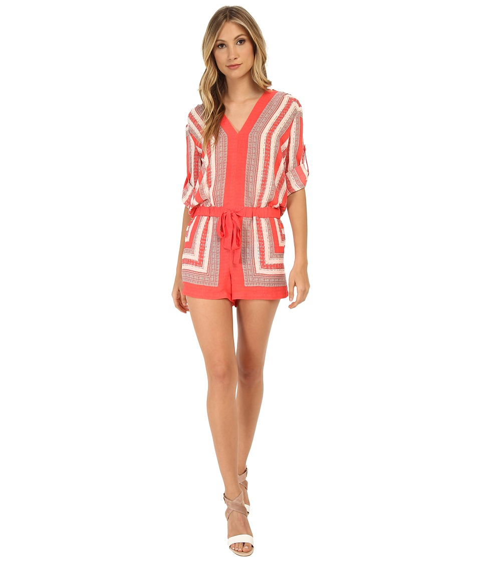 BCBGMAXAZRIA - Soren Printed Long Sleeve Rompers (Poinsettia Combo) Women's Jumpsuit & Rompers One Piece