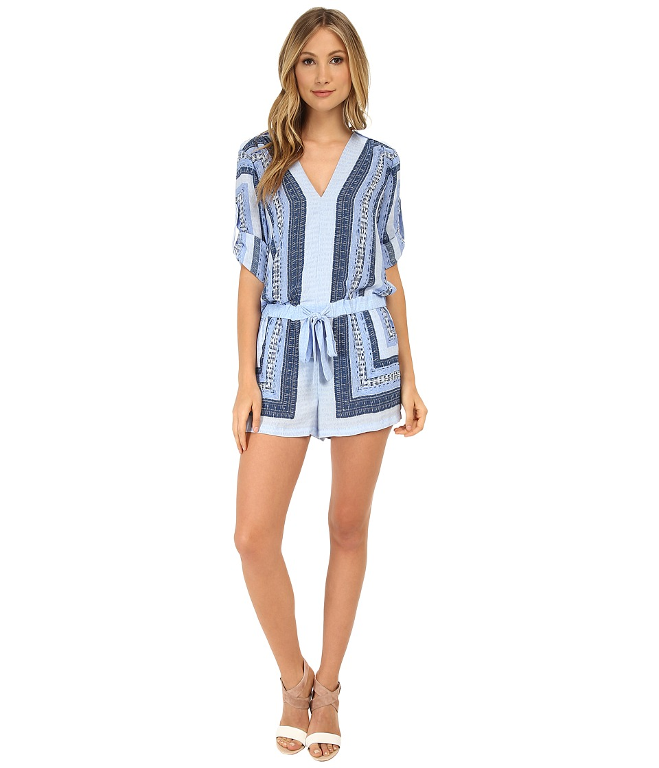 BCBGMAXAZRIA - Soren Printed Long Sleeve Rompers (Light Chambray Combo) Women's Jumpsuit & Rompers One Piece