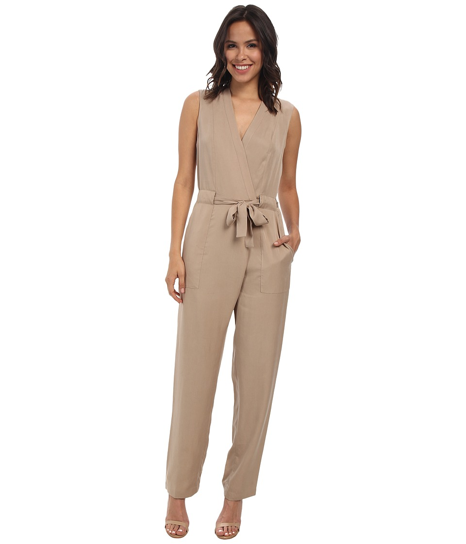 BCBGMAXAZRIA - Ridley Safari Wrap Jumpsuit (Khaki) Women's Jumpsuit & Rompers One Piece