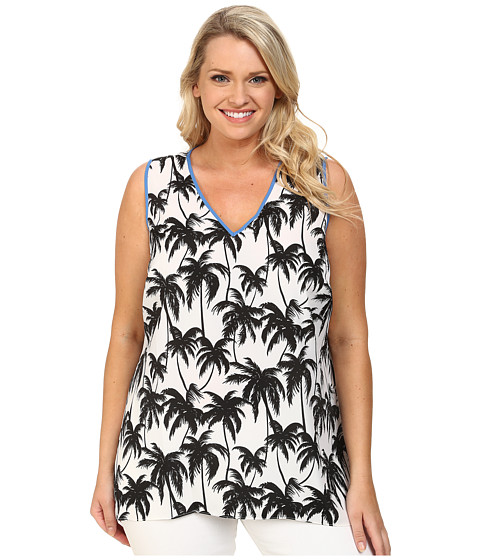 Vince Camuto Plus - Plus Size Sleeveless Palm Harmony V-Neck Blouse (Ultra White) Women