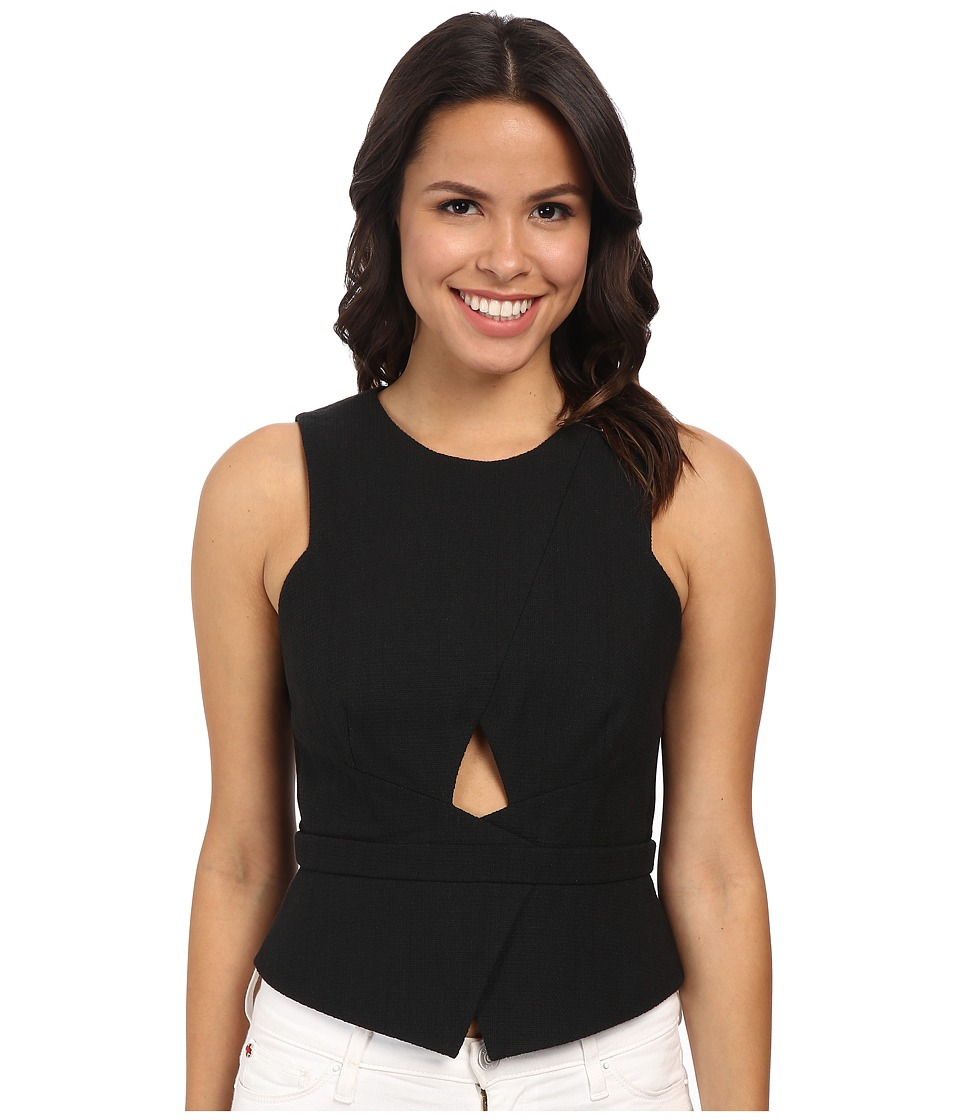 BCBGMAXAZRIA - Elley Crossover Peplum Top (Black) Women's Clothing