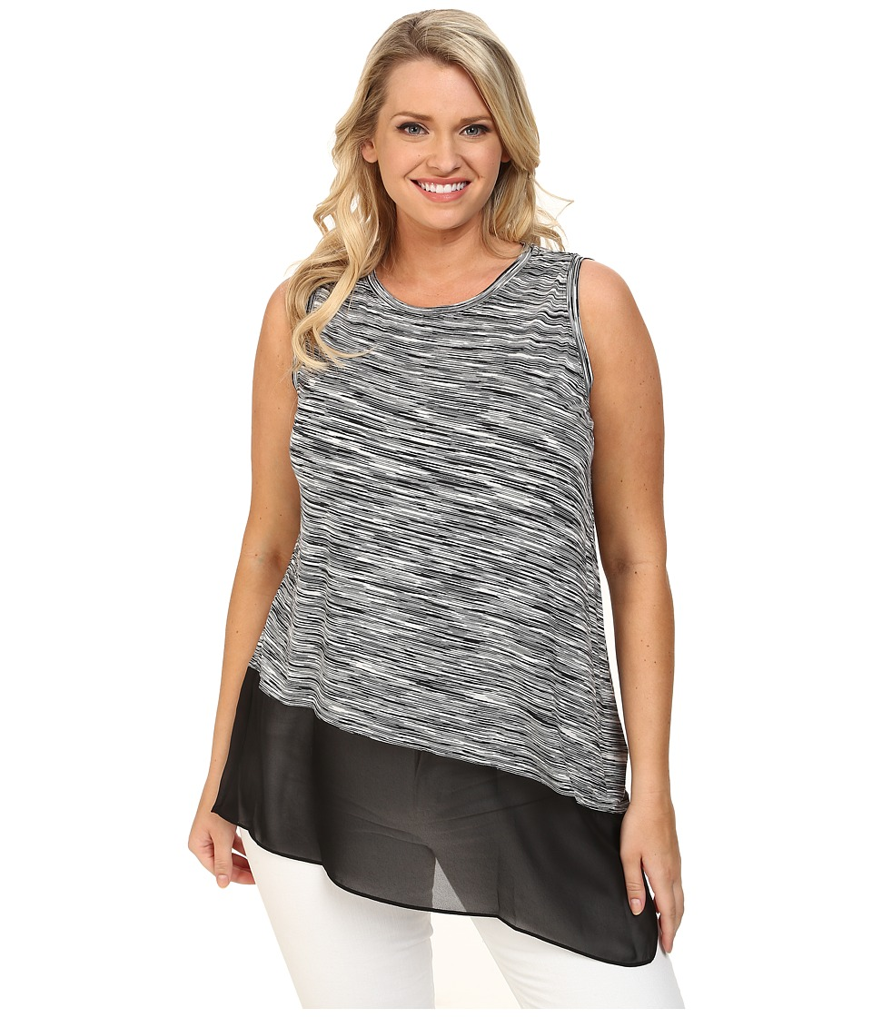 Vince Camuto Plus - Plus Size Sleeveless Space Dyed Mix Media Top w/ Asymmetrical Hem (Rich Black) Women
