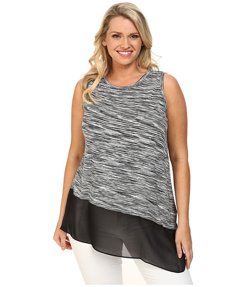Vince Camuto Plus - Plus Size Sleeveless Space Dyed Mix Media Top w/ Asymmetrical Hem (Rich Black) Women's Sleeveless