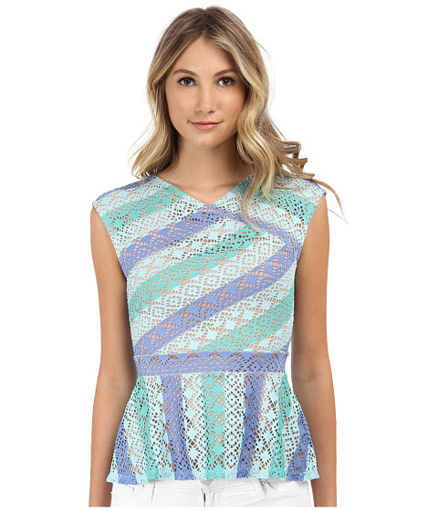 BCBGMAXAZRIA - Heidy Bias Lace V-Neck Peplum Top (Aqua Combo) Women's Clothing