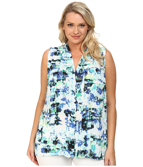 Vince Camuto Plus - Plus Size Sleeveless Floral Transit Blouse w/ Back Keyhole (Ultra White) Women