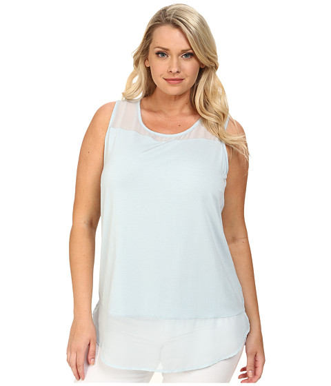 Vince Camuto Plus - Plus Size Sleeveless Mix Media Top w/ Chiffon Yoke/Hem (Sea Salt) Women