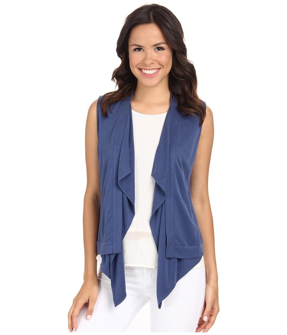 BCBGMAXAZRIA - Ryland Draped Front Vest (Vintage Blue Depths) Women's Vest