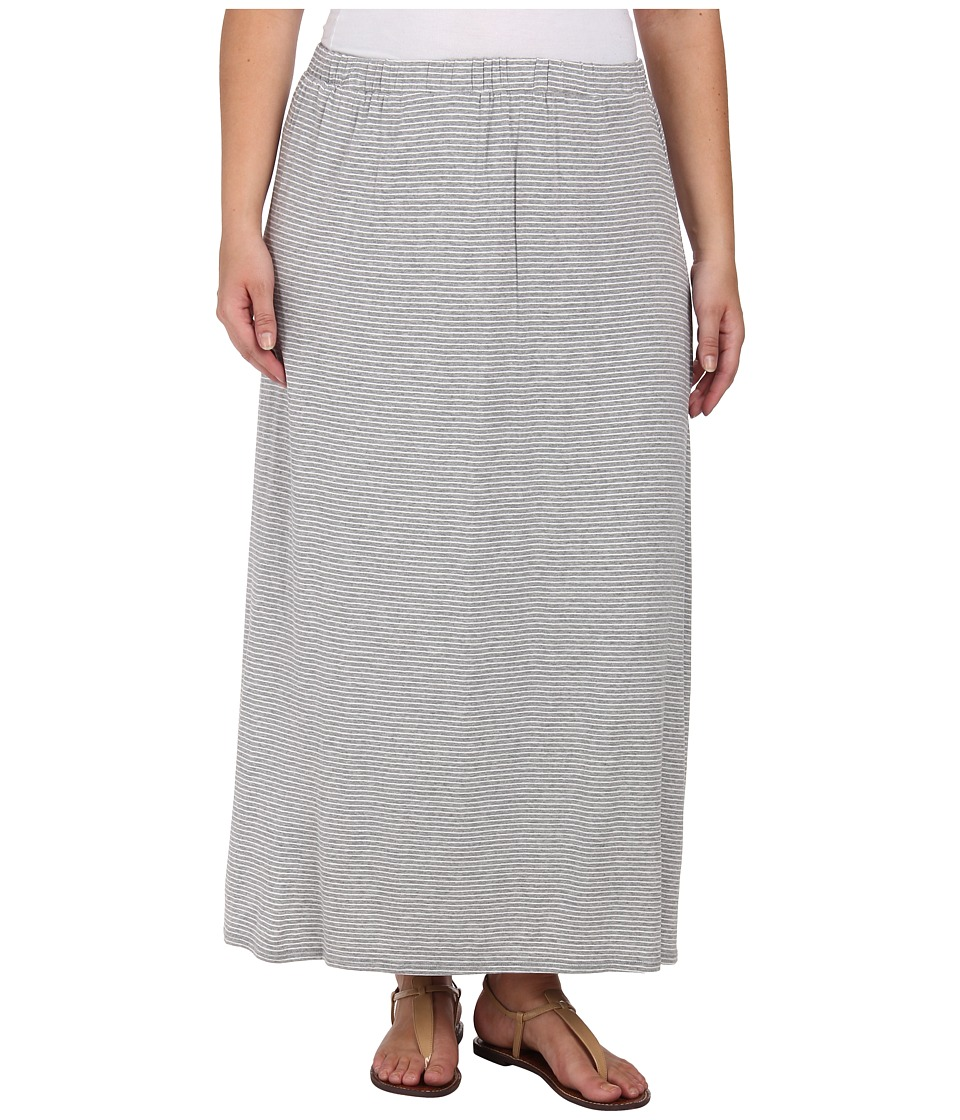 Vince Camuto Plus - Plus Size Tiny Stripe Maxi Skirt (Light Heather Grey) Women's Skirt