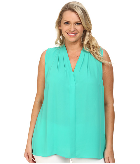 Vince Camuto Plus - Plus Size Sleeveless V-Neck Blouse w/ Back Keyhole (Ocean Jade) Women's Blouse