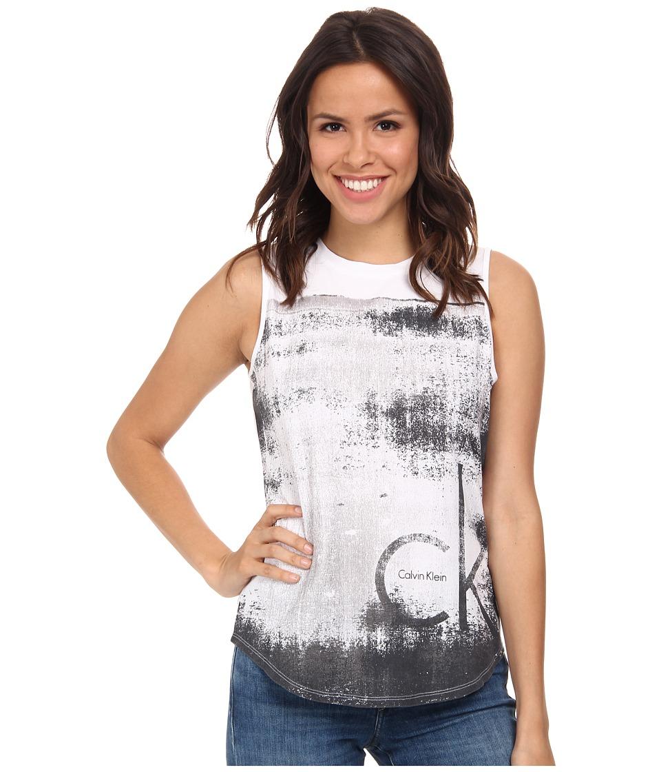 Calvin Klein Jeans - Texture Tee (Classic White) Women's Sleeveless