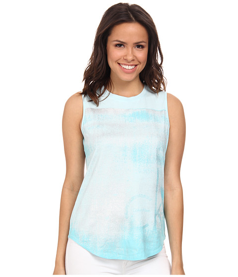Calvin Klein Jeans - Texture Tee (Cloud Blue) Women's Sleeveless