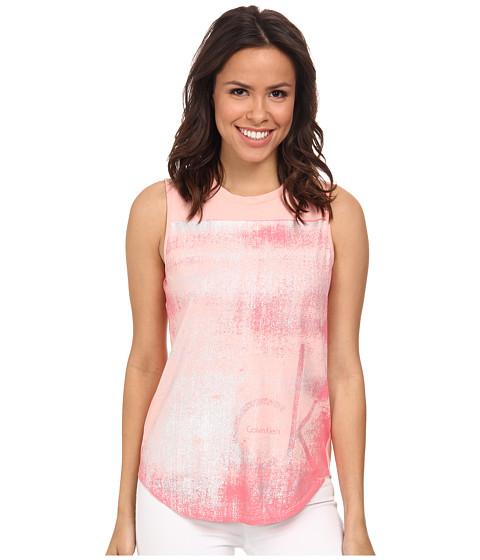 Calvin Klein Jeans - Texture Tee (Peach Glow) Women's Sleeveless
