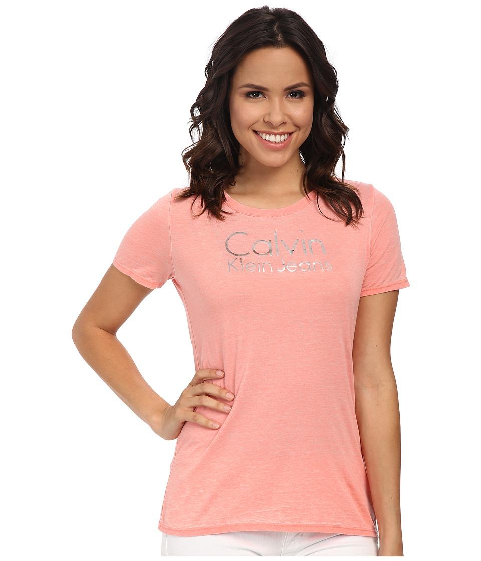 Calvin Klein Jeans - Burnout Dip Dye Tee (Whitened Coral) Women's T Shirt