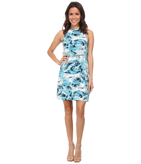 Calvin Klein Jeans - Printed Drawcord Halter Dress (Light Opal) Women's Dress