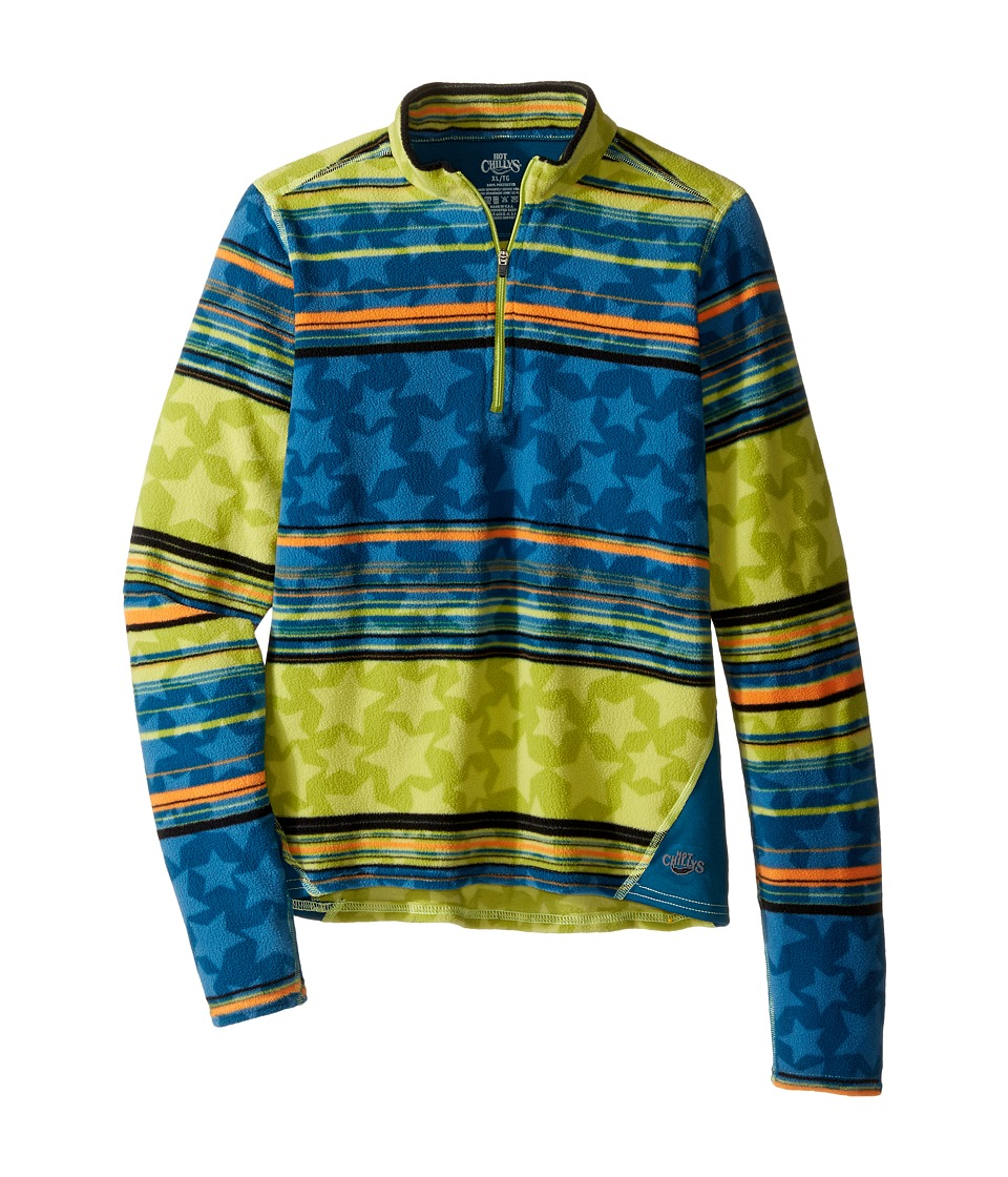 Hot Chillys Kids - La Montana Print Zip Top (Little Kid/Big Kid) (Allstar Abyss/Lagoon) Kid's Long Sleeve Pullover