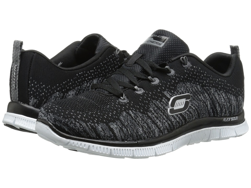 SKECHERS - Flex Appeal (Black White) Women's Running Shoes