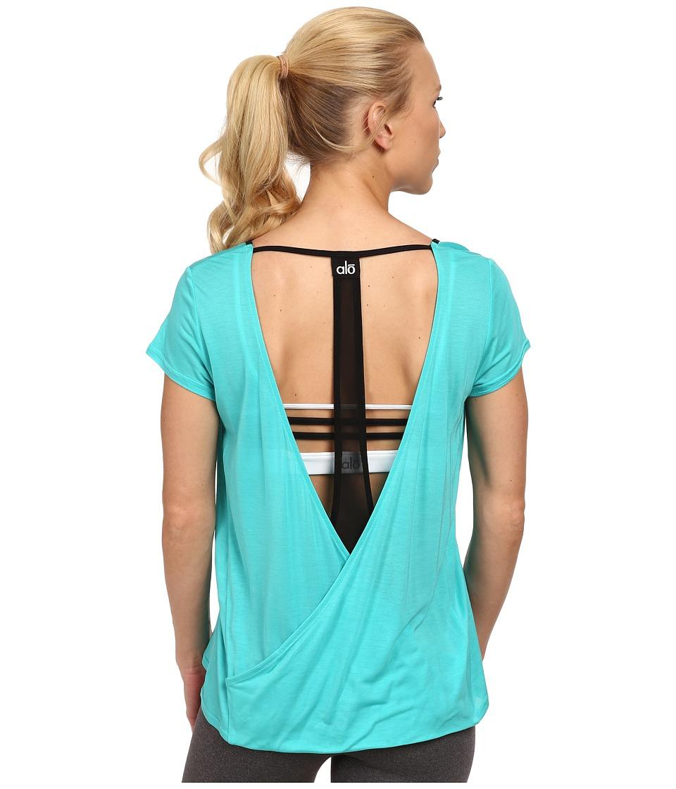 ALO - Rown Short Sleeve Top (Aqua/Black) Women's T Shirt