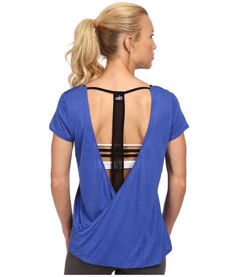ALO - Rown Short Sleeve Top (Surf/Black) Women