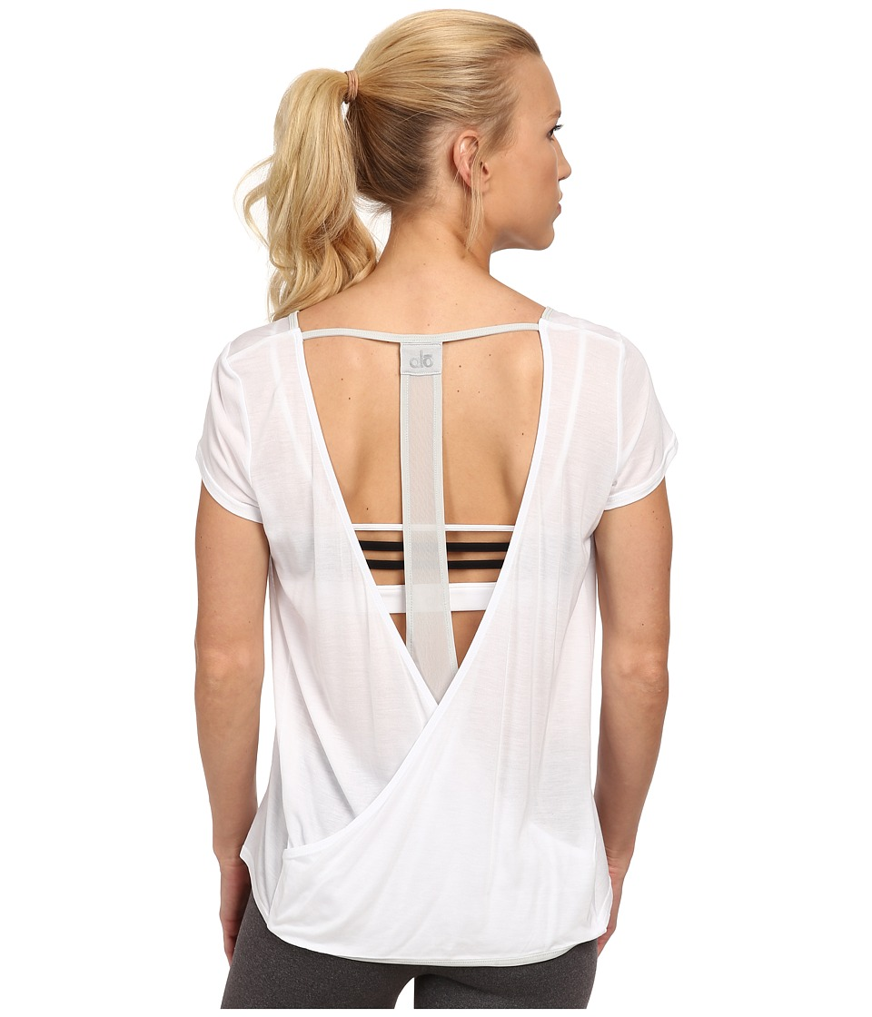 ALO - Rown Short Sleeve Top (Whitestone) Women's T Shirt