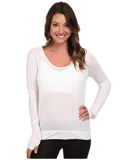 ALO - Smoke Long Sleeve Top (White) Women's Long Sleeve Pullover