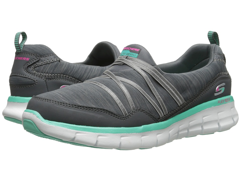 SKECHERS - Synergy - Scene Stealer (Gray Aqua) Women's Shoes
