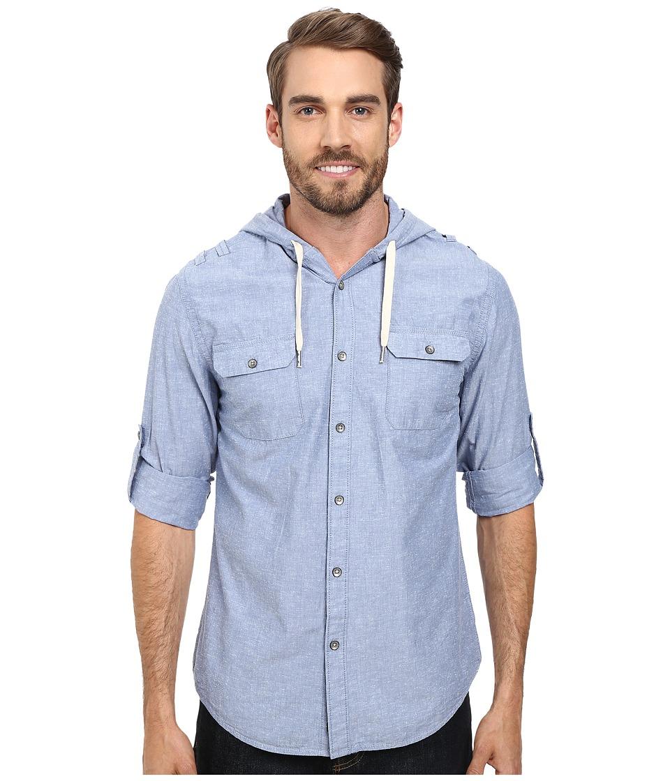 DKNY Jeans - Long Sleeve Roll Tab Solid Slub Hooded Shirt-Enzyme Wash (Blue) Men's Clothing