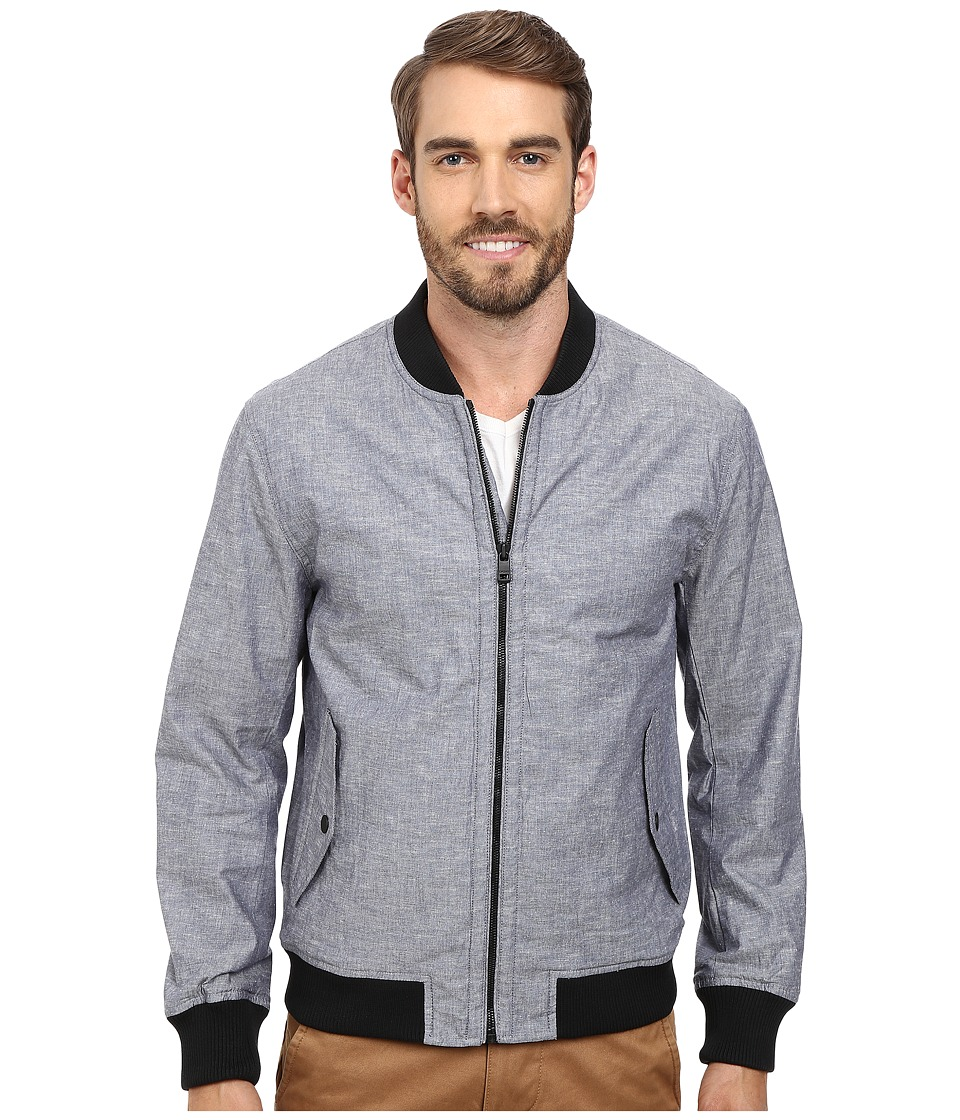 DKNY Jeans - Coated Chambray Bomber Jacket (Blue) Men's Coat
