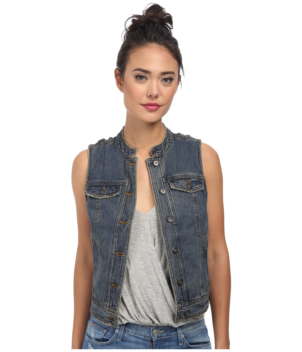Free People - Rugged Ripped Denim Lace Up Vest (Indigo) Women's Vest