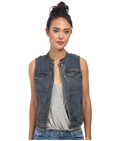 Free People - Rugged Ripped Denim Lace Up Vest (Indigo) Women