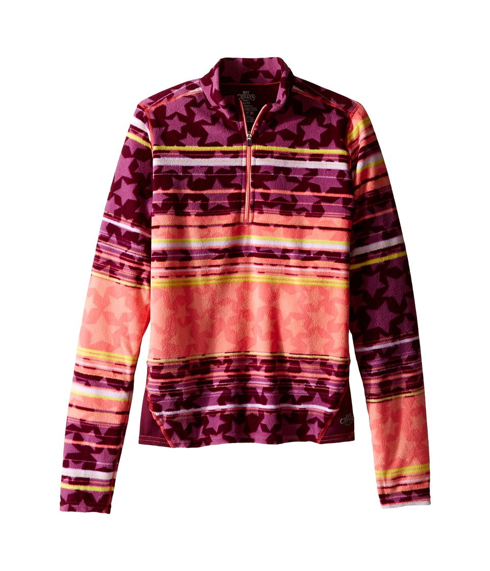 Hot Chillys Kids - La Montana Print Zip Top (Little Kid/Big Kid) (Allstar Bright/Viola) Kid's Long Sleeve Pullover