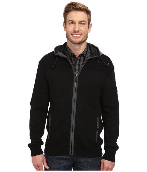 DKNY Jeans - Long Sleeve Full Zip Sport Sweater w/ Hoodie (Black) Men's Sweater