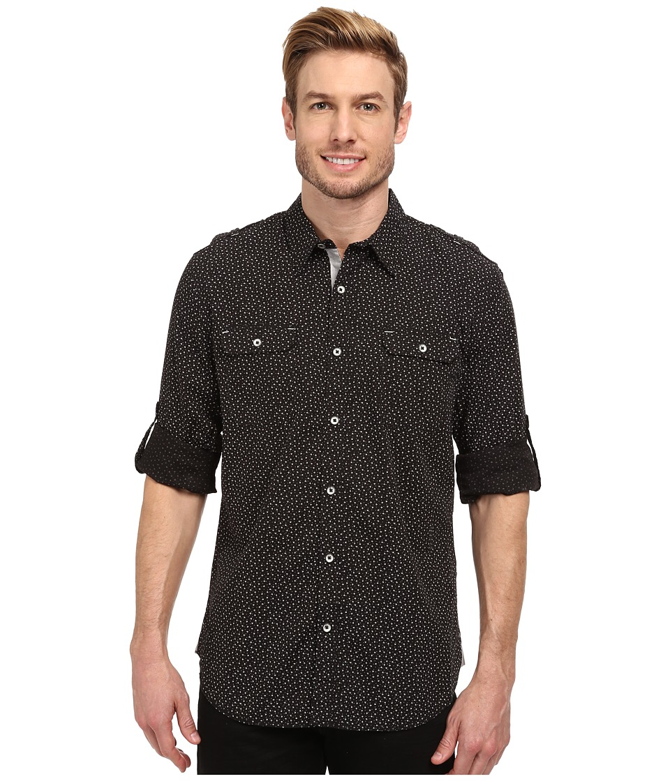 DKNY Jeans - Long Sleeve Roll Tab Mini Print Shirt-Enzyme Wash (Black) Men's Long Sleeve Button Up