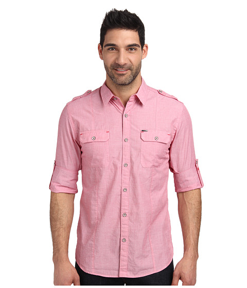 DKNY Jeans - Long Sleeve Roll Tab End On End Shirt-Casual Wash (Flared Red) Men's Long Sleeve Button Up