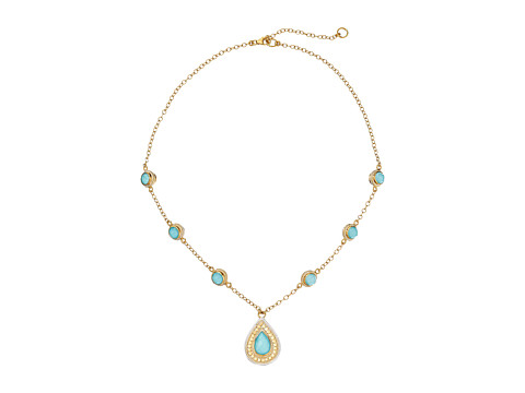 Anna Beck - Turquoise Necklace w/ Teardrop Pendant and Double Sided Stations (Sterling Silver/18K Gold Vermeil) Necklace