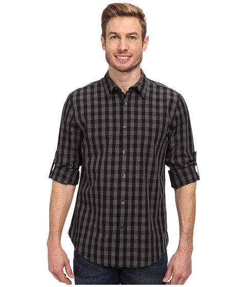 DKNY Jeans - Long Sleeve Roll Tab Gingham Check Shirt w/ Epaulets-City Press (Black) Men's Long Sleeve Button Up