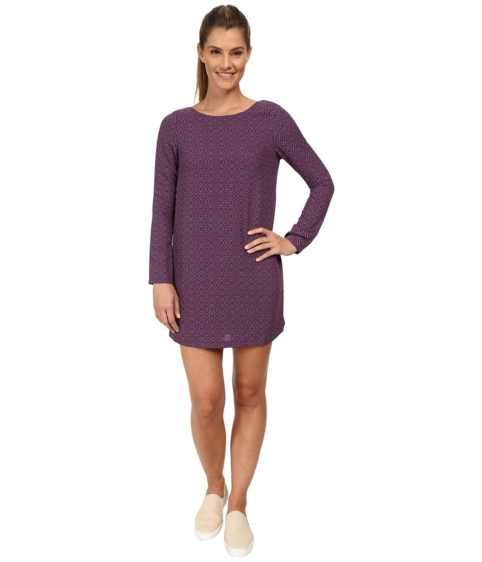 Prana Cece Long Sleeve Dress (Black Plum) Women