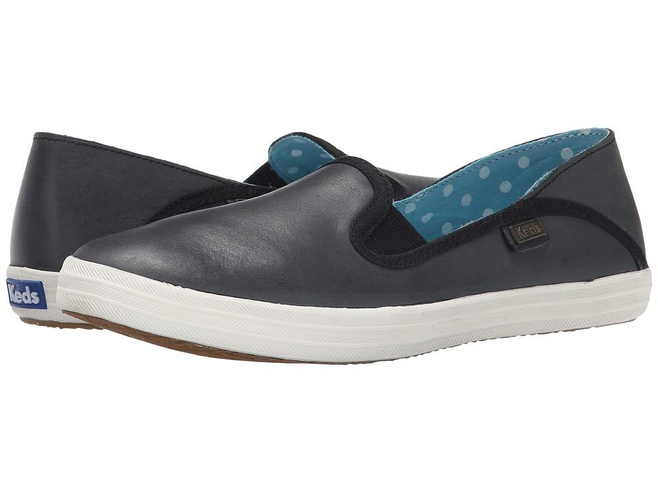 Keds - Crashback Leather (Black Leather) Women's Slip on Shoes