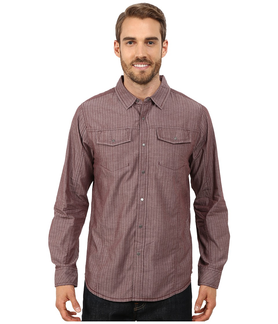 Prana - Hollis Long Sleeve Shirt (Dark Mahogany) Men's Long Sleeve Button Up